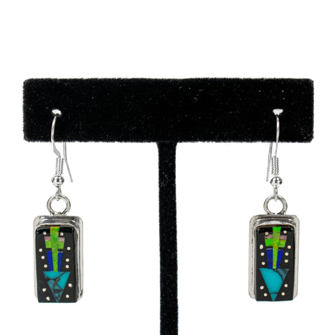 Sterling Silver Inlay Earrings by Randy Secatero & Sylvana Apache