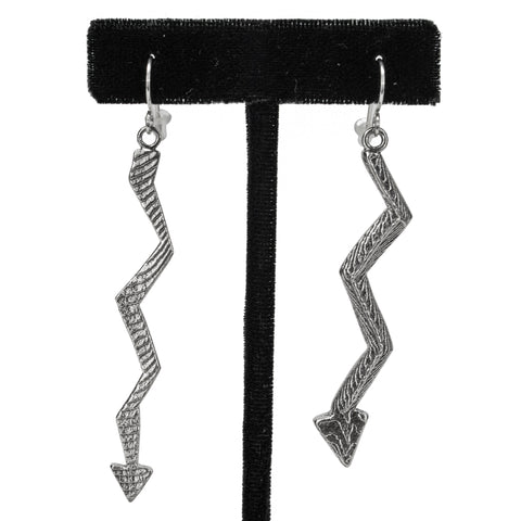 Sterling Silver Sandcast Lightning Earrings by Jonah Hill