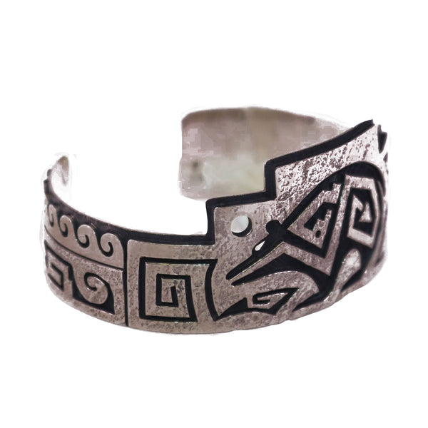 Sterling Silver Bear Water Wings Textured Bracelet Cuff