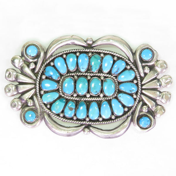 Vintage Sterling Silver Applique & Turquoise Pin