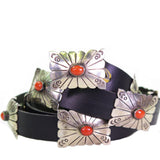 Sterling Silver Stamped Concho Belt with Rectangular Conchas featuring Mediterranean Coral