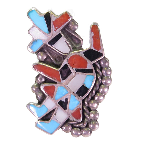 Vintage Zuni Rainbow Man Mother-of-Pearl, Coral, Turquoise, and Jet Ring