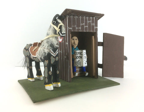 Man in Outhouse with Horse Folk Art