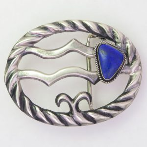 Navajo Sterling Silver Belt Buckle with Lapis Lazuli