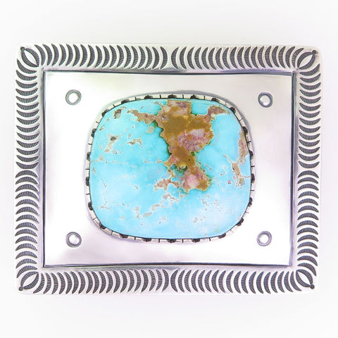 Stamped Sterling Silver Belt Buckle with Royston Turquoise