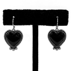 Onyx Heart Earrings by Shane Casias
