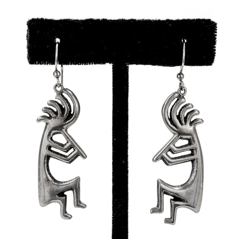 Sterling Silver Tufacast Flute Player Earrings by Alvin Thompson