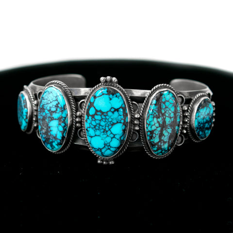 5-Stone Turquoise and Tibetan Cuff Bracelet