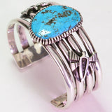 Sterling Silver Four-Band Cuff Bracelet with Turquoise