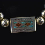 Vintage Sterling Silver Coral & Turquoise Inlay Necklace
