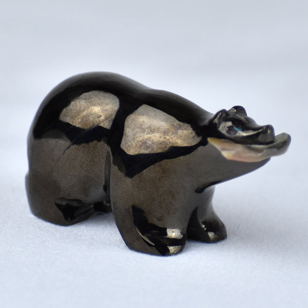 Silvarado Jet & Mother-of-Pearl Bear with Fish Fetish Carving