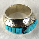 Sterling Silver Concave Turquoise Ring