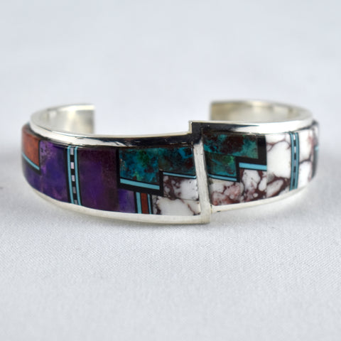 Sterling Silver Turquoise, Suge, Whitehorse, & Apple Coral Inlay Bracelet