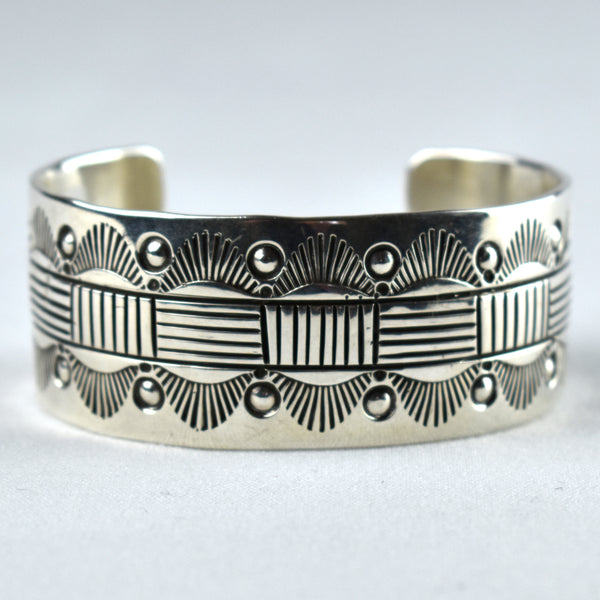 Sterling Silver Stamped Sunburst Block Bracelet