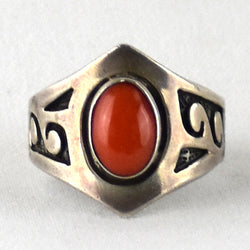 Cast Sterling Silver & Coral Ring