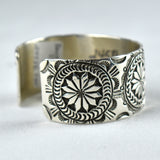 Sterling Silver Stamped Flowers Bracelet