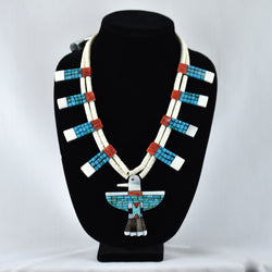 Mosaic Turquoise, Shell, & Jet Thunderbird Necklace