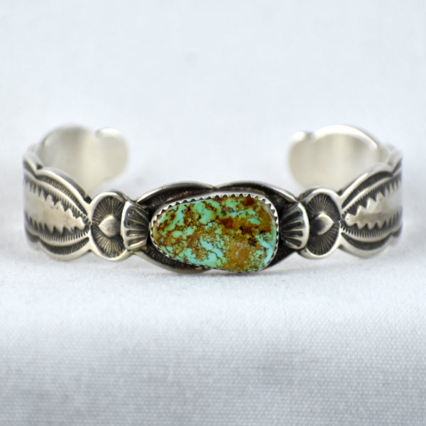 Sterling Silver Stamped Royston Turquoise Bracelet