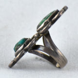 Green Turquoise Cab & Sterling Silver Flowers Ring