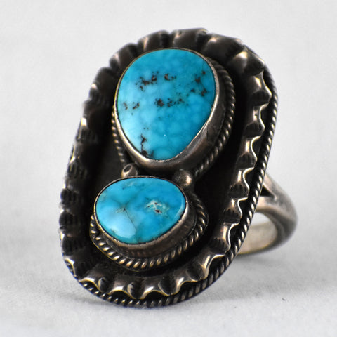 Morenci Turquoise Two Cab Ring