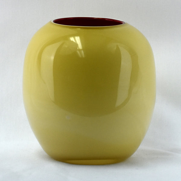 Medium Beige & Red Glass Handblown Vase