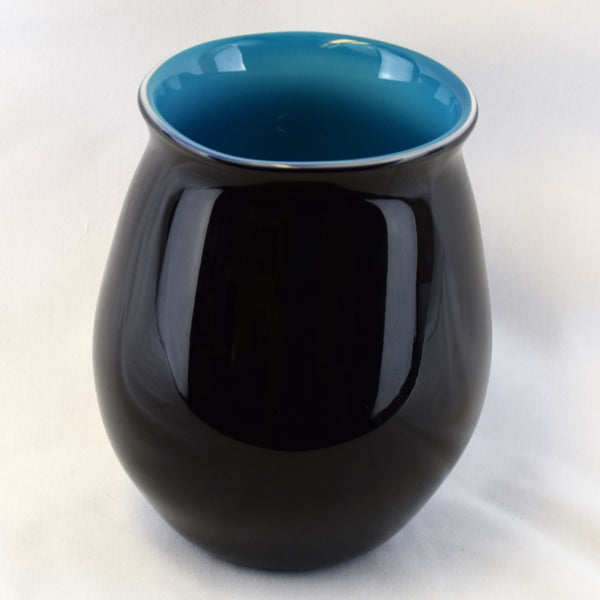 Large Black & Blue Handblown Vase