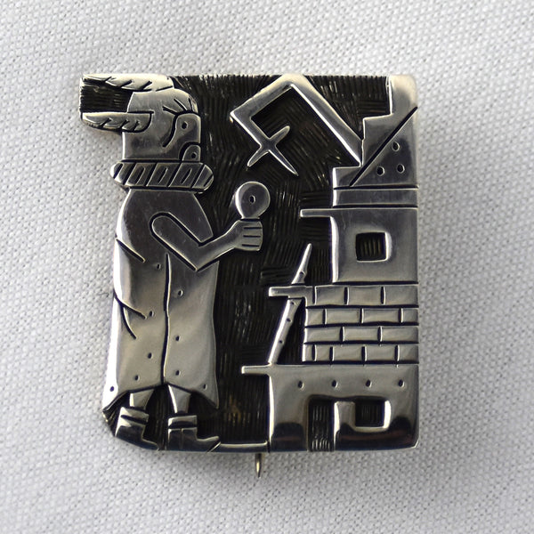 Sterling Qooqolo Overlay Pin/Pendant