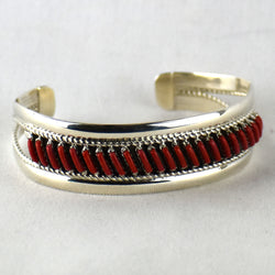 Sterling Silver Coral Pettipoint Wire Bracelet