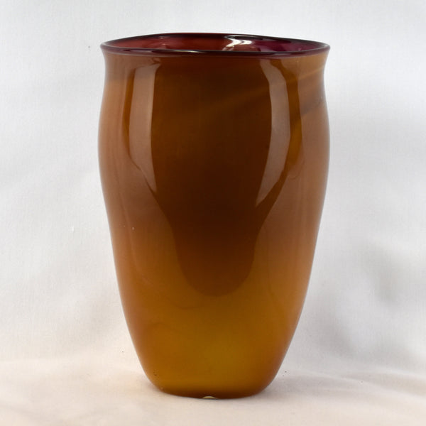 Large Orange & Purple Handblown Glass Vase