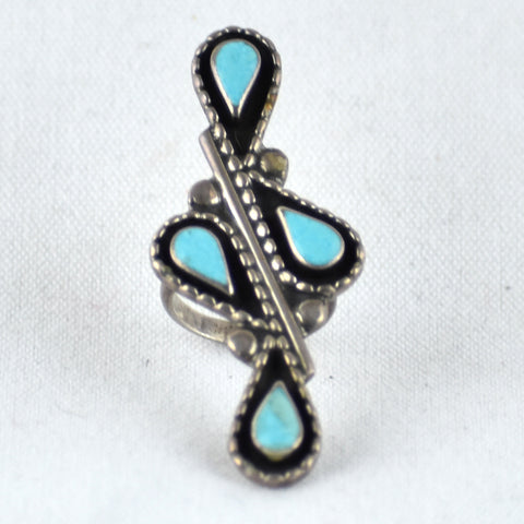 Four Teardrops Turquoise Ring