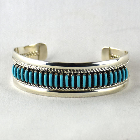 Sterling Silver Turquoise Pettipoint Wire Bracelet