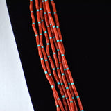 Seven Strand Mediterranean Coral Necklace & Earrings Set
