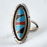 Oval Channel Coral, Jet, & Turquoise Inlay Ring