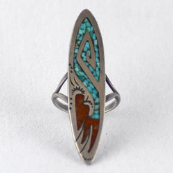 Chip Inlay Coral & Turquoise Oblong Ring