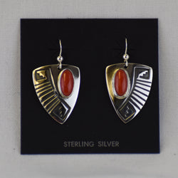 Sterling Silver Overlay Fan Earrings