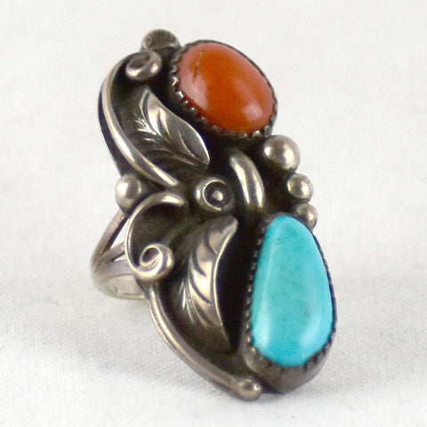 Leaf Design Turquoise & Coral Ring