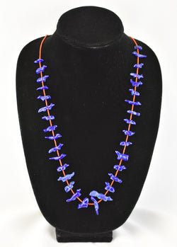 Lapis Lazuli Animal Fetish & Coral Tube Bead Necklace