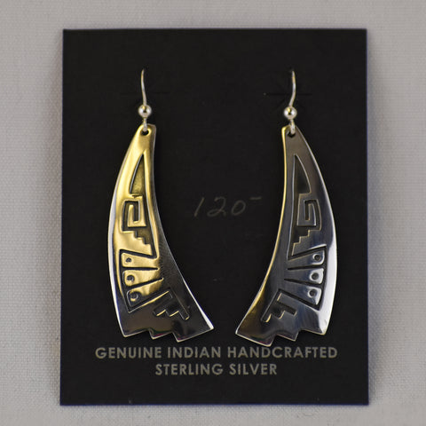 Sterling Silver Overlay Tapered Triangle Fan Earrings