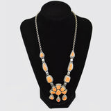 Sterling Silver Orange Spondylus Necklace