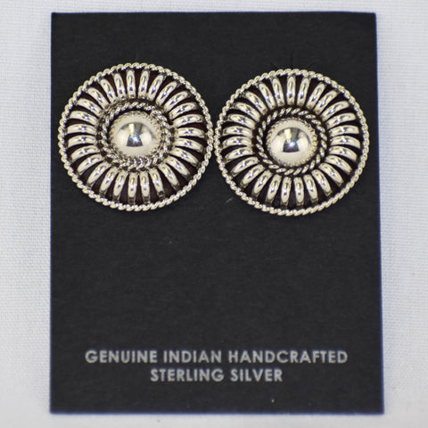 Sterling Silver Barrel Circle Earrings