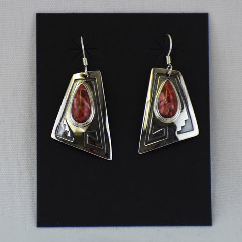 Sterling Silver & Spiney Oyster Triangle Earrings