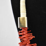 Sterling Silver Branch Coral Square Drum Necklace