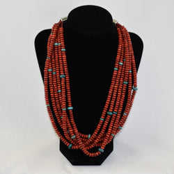 Apple Coral, Turquoise, & Sterling Silver Necklace