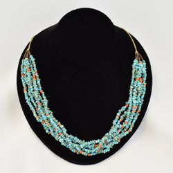 Six Strand Turquoise & Coral Beaded Necklace
