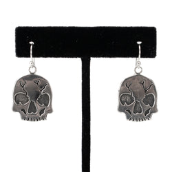 Sterling Silver Skull Earrings by Shane Casias