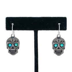 Sterling Silver and Opal Skull Earrings by Shane Casias