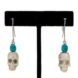 Turquoise Skull Earrings by Ralph Sena