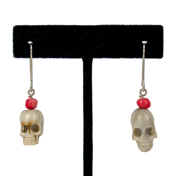 Apple Coral Skull Earrings by Ralph Sena