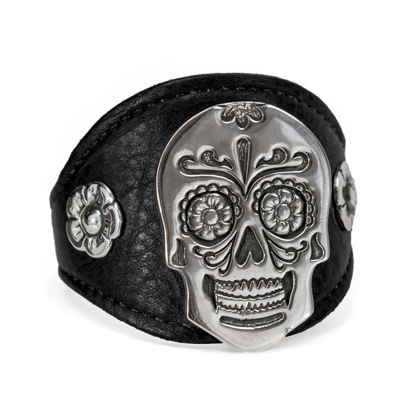 Leather Skull Bracelet by Shane Casias