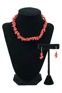 Coral Earring and Necklace Set